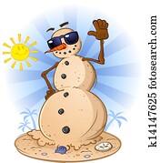 Beach Sand Snowman Cartoon