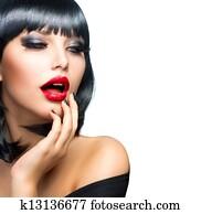 Beautiful Brunette Girl Portrait over White. Sensual Red Lips