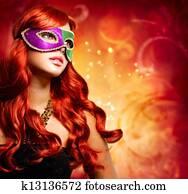 Beautiful Girl in a Carnival mask