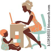 Beautiful silhouette of mother – freelancer with notebook and