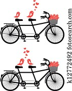 bicycle with love birds, vector