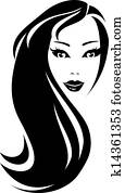 black silhouette woman with hair
