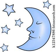 Blue moon and stars