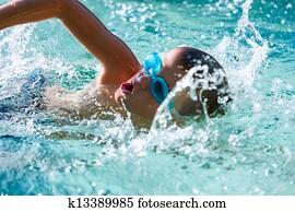 Boy at swimming practice.