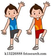 Boy to do aerobics