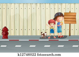 Boys with their pets in the street