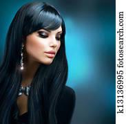 brünett, girl., gesund, langen haaren, und, feiertag, aufmachung