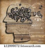 Brain full of numbers. Memory loss.