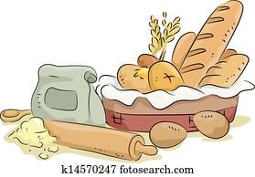 bread, und, backen, materialien, und, bestandteile