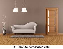 Brown living room with white sofa