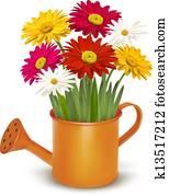 buntes, frisch, frühjahrsblumen, in, orange, bew?sserung, can., vektor, abbildung