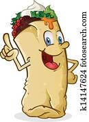Burrito Cartoon Character Pointing