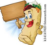 Burrito Cartoon Holding Sign