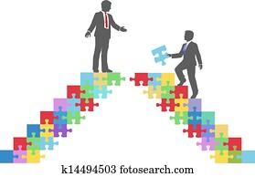 Business people join connect puzzle bridge