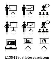 Business presentation, lecture icon