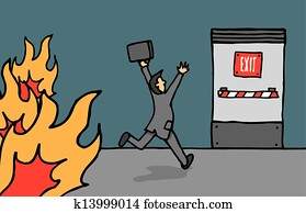 Businessman heading for emergency exit
