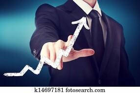 Businessman Touching a Arrow