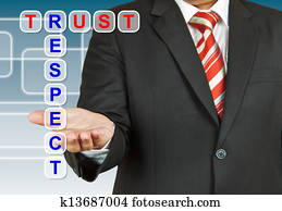 Businessman with wording Trust and Respect