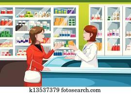 Buying medicine in pharmacy
