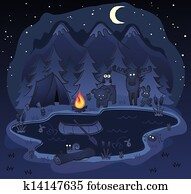 Camping At Night with Animals