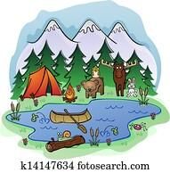 camping, in, summer, mit, tier, frien