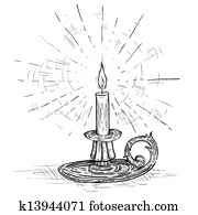 candle on candlestick burning with light of hope and faith