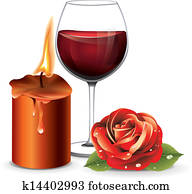 Candle Rose Wine
