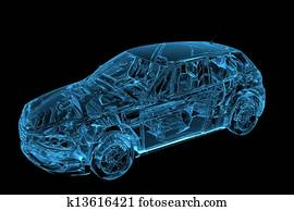 Car 3D rendered xray blue transparent