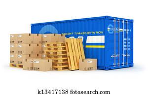 Cargo, shipping and logistics concept