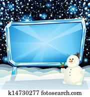 Cartoon Christmas Card Snowman