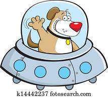 Cartoon dog in a spaceship
