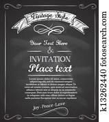 Chalkboard hand drawnvintage invitation