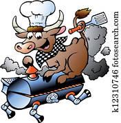 Chef Cow riding a BBQ barrel