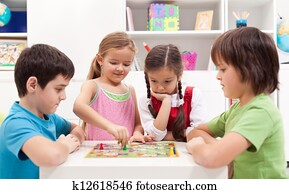 Children playing board game