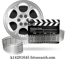 Cinema clap and film reel isolated