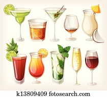 Collection of alcohol coctails