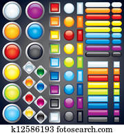 Collection of Web Buttons, Icons, Bars. Vector Image