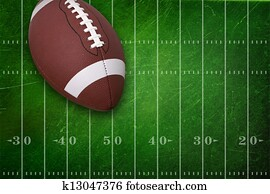 College football on grunge field background