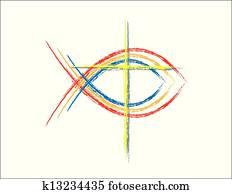 Color Grunge Christian Fish Symbols