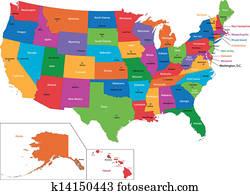 Colorful USA map