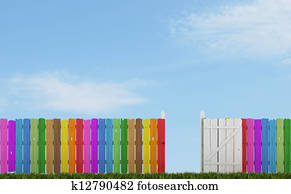 Colorful wooden fence with open gate