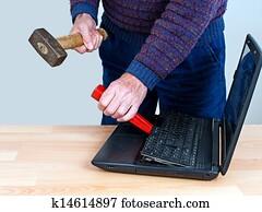 Computer repair concept - stress, IT, technology