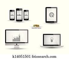 Computer smartphone tablet vector