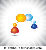 Concept vector- shiny people & chat(speech bubble) symbols(icons). The illustration can represent people chatting, persons in a meeting, or having conversation, or having some important discussion