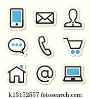 Contact web vector stroke icons set