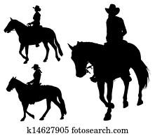 cowgirl, reitpferd, silhouetten
