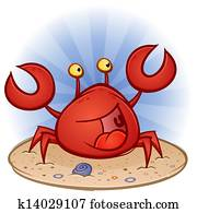 Crab Cartoon Character on the Beach