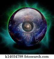 Crystal Ball with Eye and Galaxy