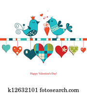 Cute birds sharing love , Valentines day design