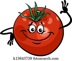 cute tomato vegetable cartoon illustration
